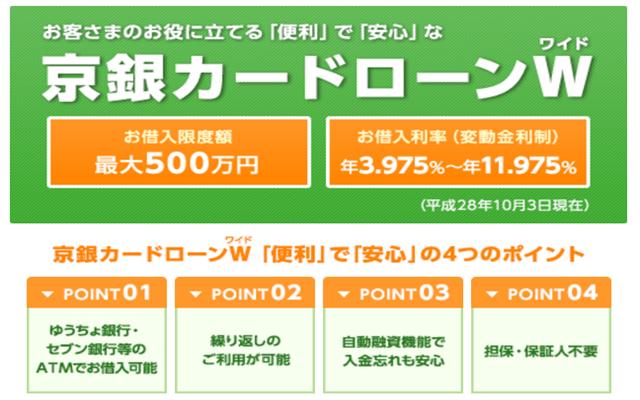 京都銀行(京銀)のカードローン、Wワイドの役に立つ4つのポイントとは